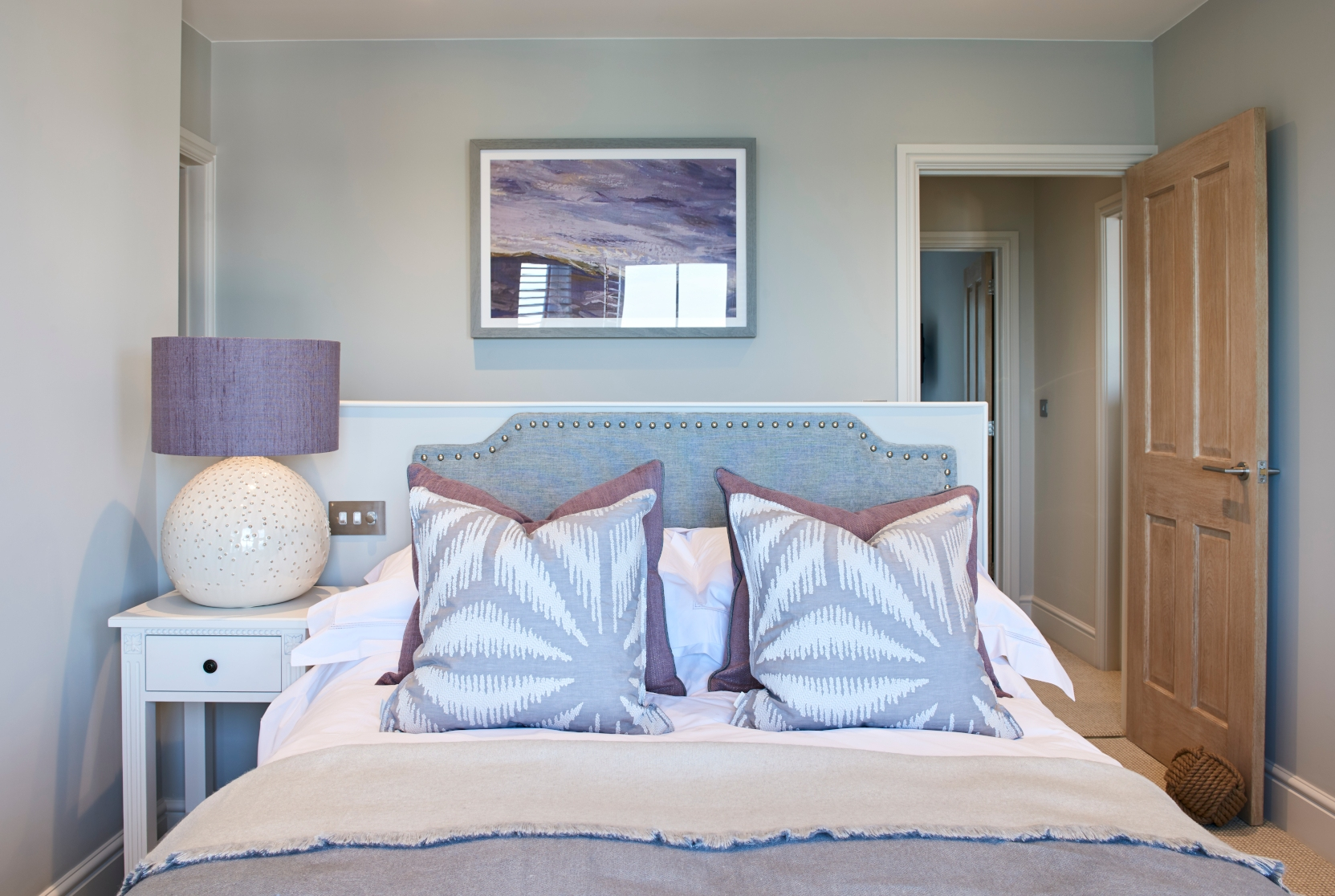 Grey Purple Guest Bedroom - Interior Design