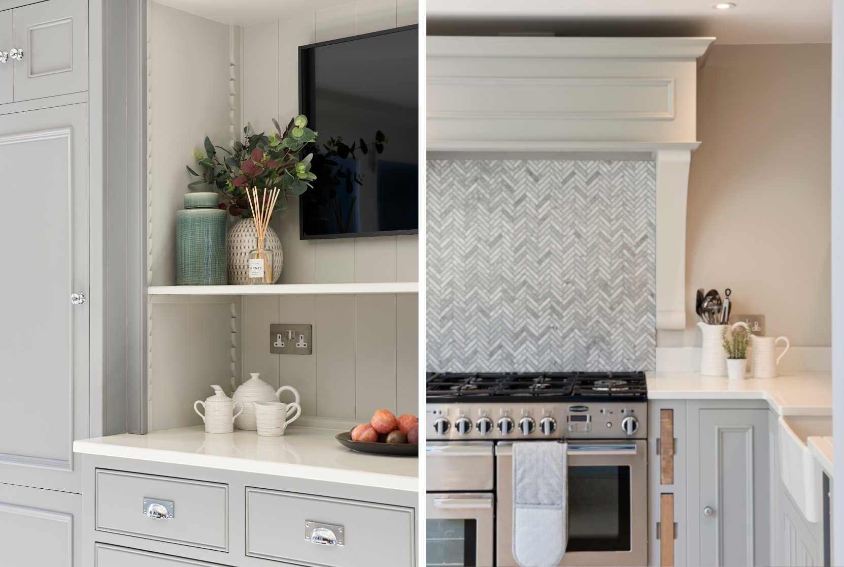 Herringbone tiling & foliage in Kitchen - Interior Design