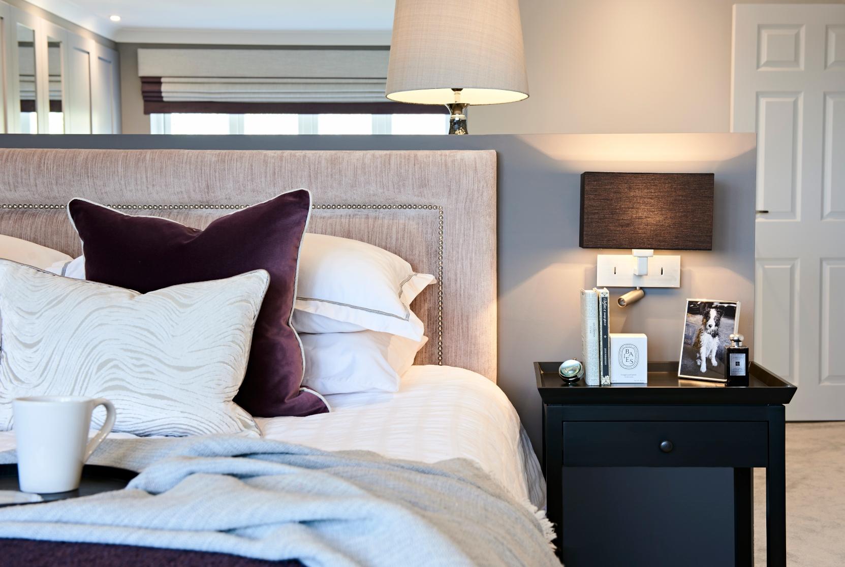 Master bedroom bedside table styling - Interior design