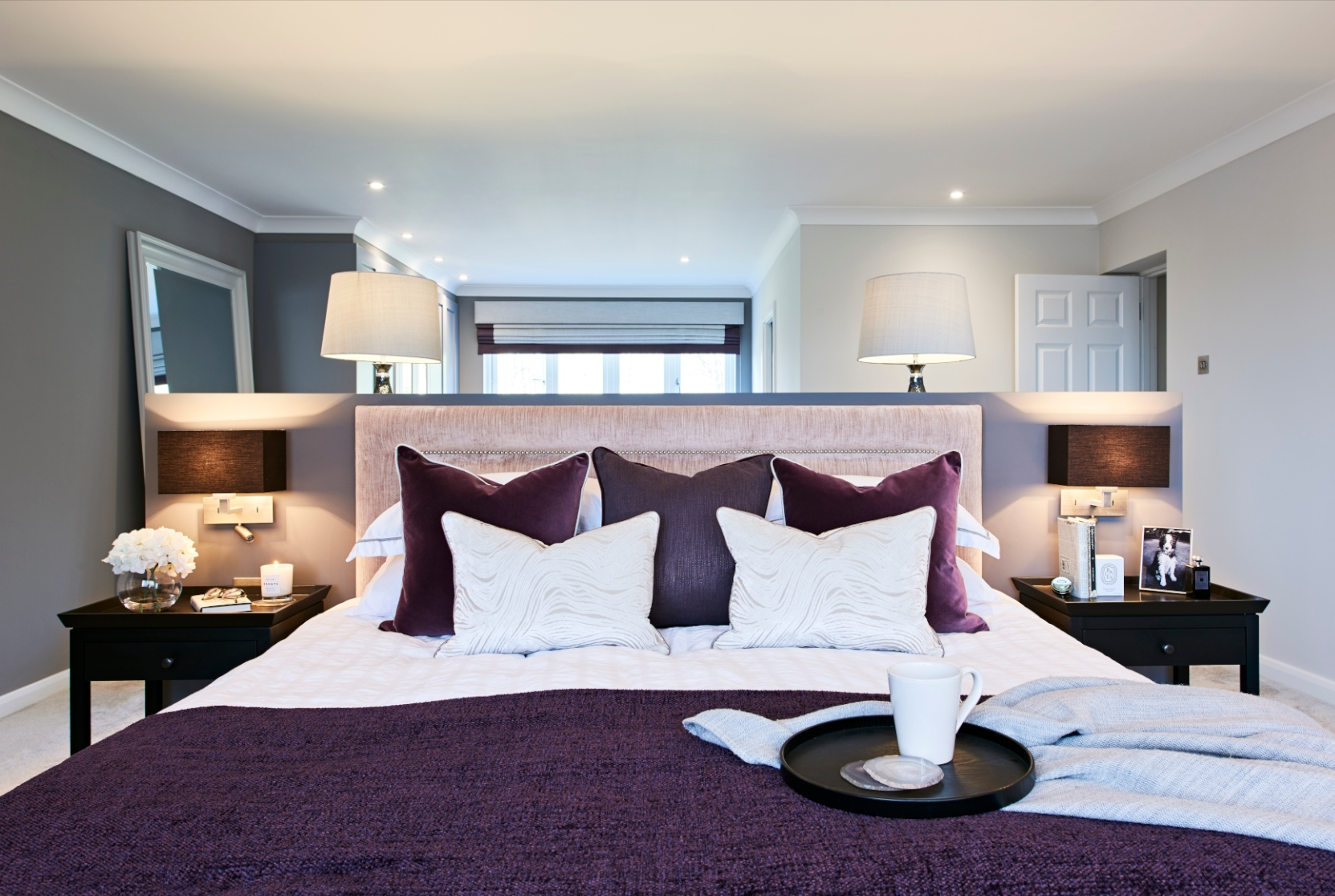 Master bedroom superking purple throw - Interior Design