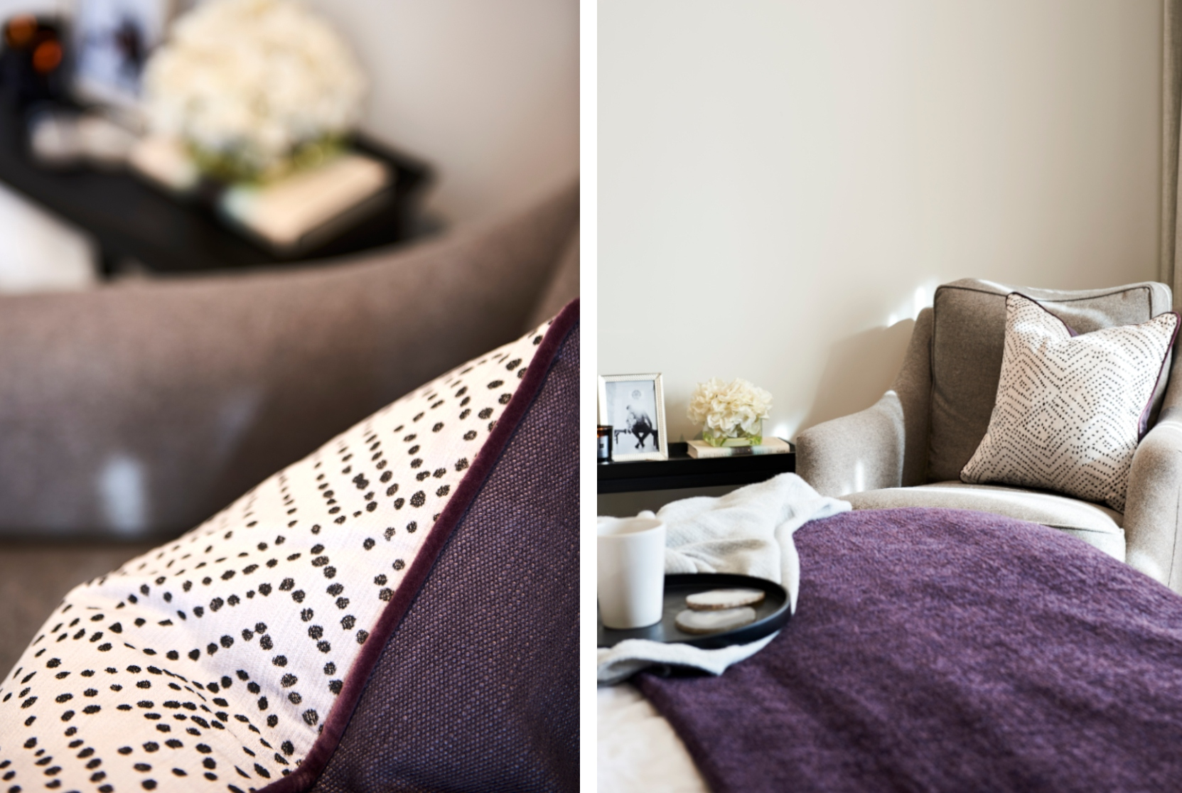 Piped cushions and bedroom chair - Interior design