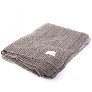 Croyde Grey Cable Knit Throw