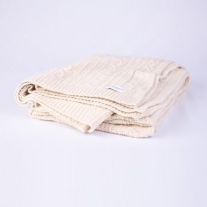 Croyde Neutral Cable Knit Throw