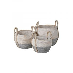 Fowey Basket / Grey and white seagrass basket