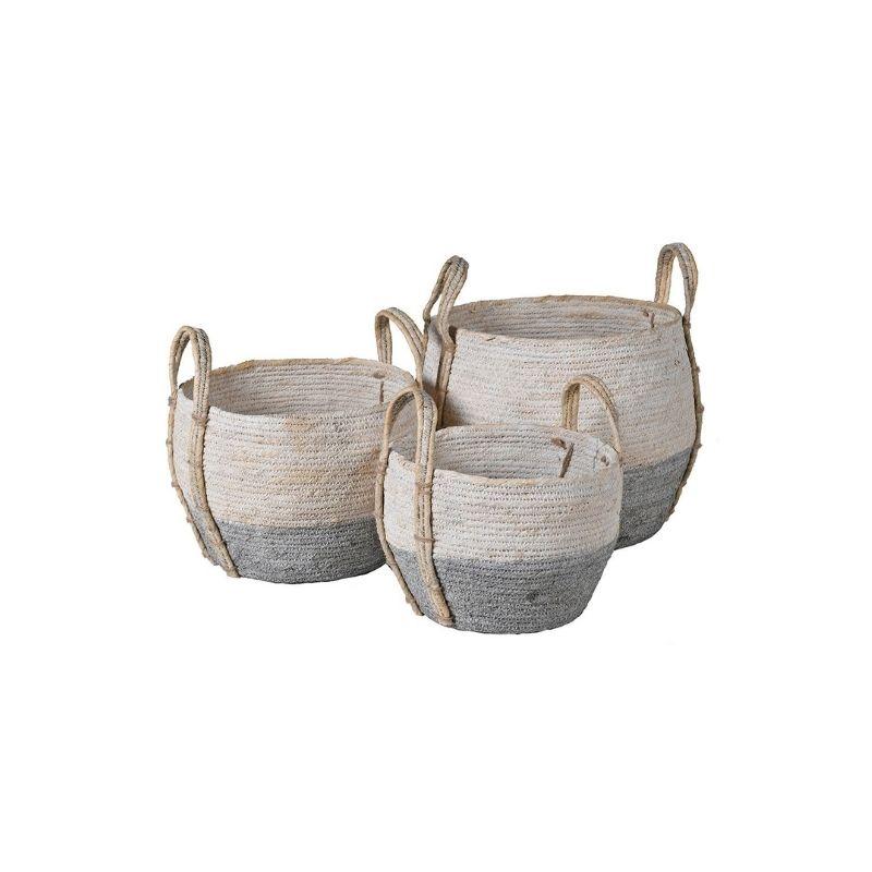Fowey Basket / Grey and white seagrass basket