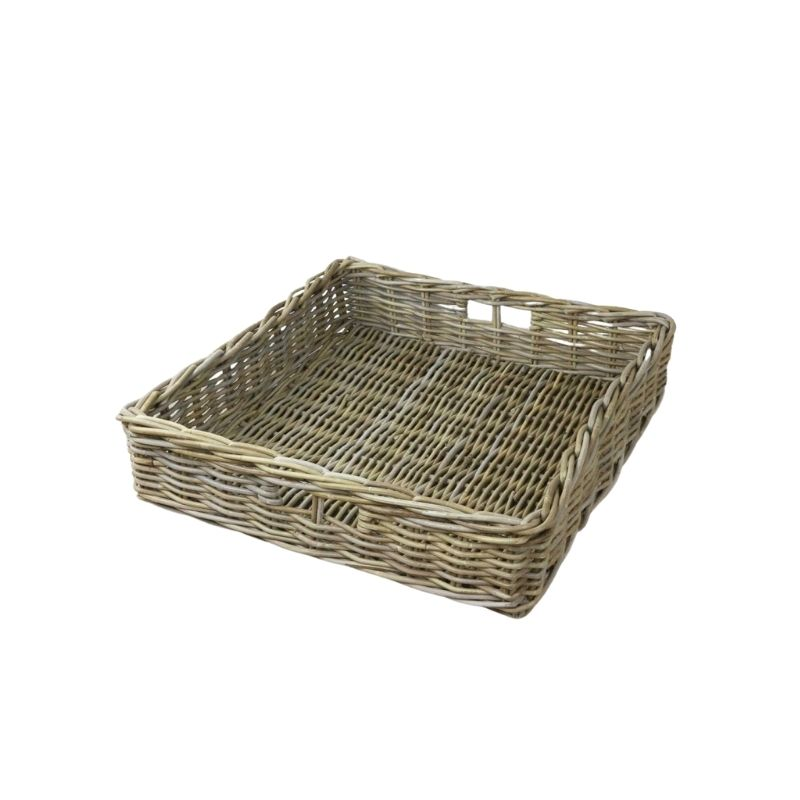 Holkham Tray / Grey toned large rattan tray