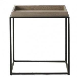 Narbeth Oak and Metal Square Side Table