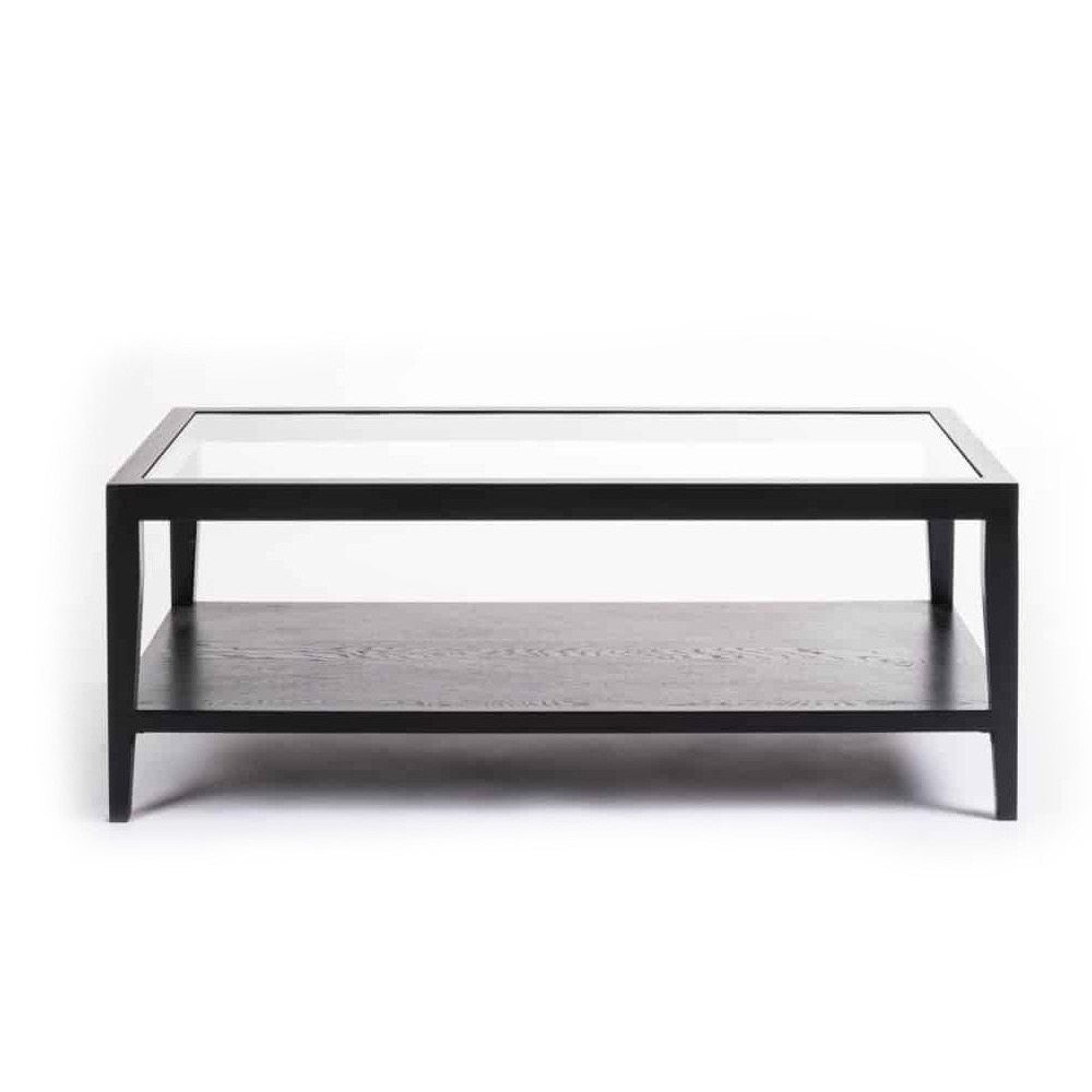 Porthleven Black Metal Glass Coffee Table