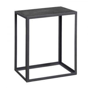 Saunderton Black Concrete and Metal End Table