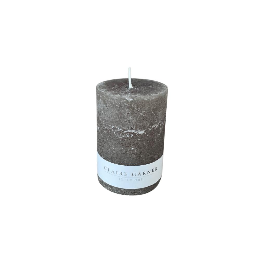 Rustic Olive Short Pillar Candle